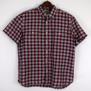 Lucky Brand Mens X Large Plaid Short Sleeve Shirt